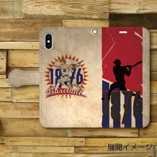 レトロポスター ベースボール 野球 レトロ調 ビンテージ調 アメリカ バッター iPhone アイフォン 手帳型ケース|dezagoods|05