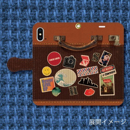 レトロ調 スーツケース調 トランク調 レザー調 旅行 トラベル ビンテージ調 iPhone アイフォン 手帳型ケース dezagoods 02