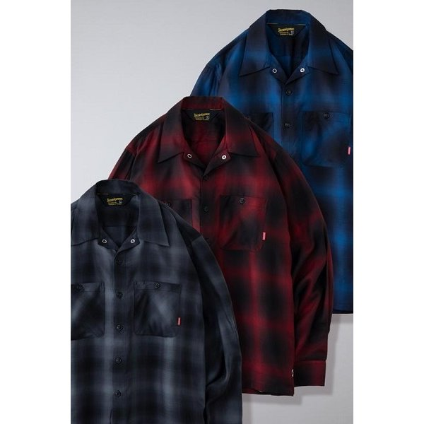 BLUCO ブルコ OMBRE WORK SHIRTS L/S オンブレチェックシャツ OL-109TO-021|dialog-ca