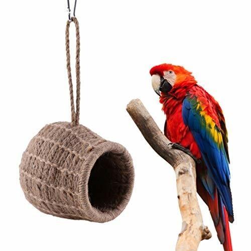 ledmomo ハムスター ハウス ベッド 冬 暖かい 吊り下げ 小鳥巣箱 コットンロープ織り 鳥かご バードケージ バー|diamod-snap987|02