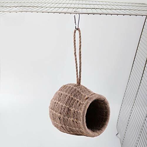 ledmomo ハムスター ハウス ベッド 冬 暖かい 吊り下げ 小鳥巣箱 コットンロープ織り 鳥かご バードケージ バー|diamod-snap987|03