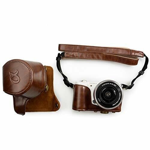 kinokoo SONY ソニー α5000 α5100 NEX-3N専用カメラケース PUレザー ショルダーストラップ(コーヒー)|diamod-snap987