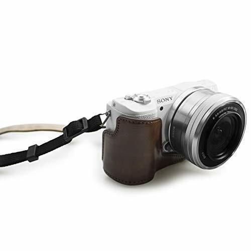 kinokoo SONY ソニー α5000 α5100 NEX-3N専用カメラケース PUレザー ショルダーストラップ(コーヒー)|diamod-snap987|06