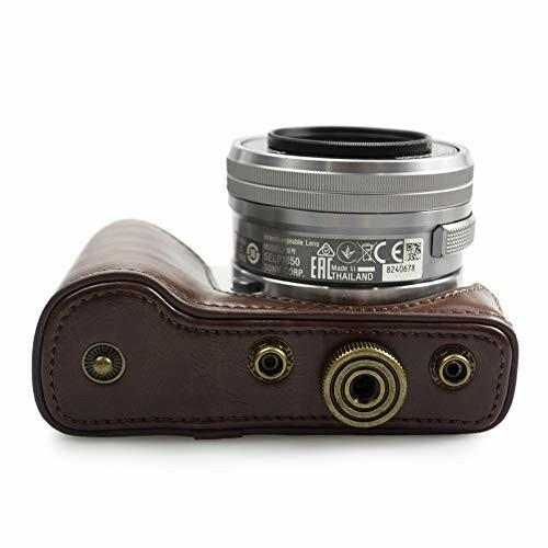 kinokoo SONY ソニー α5000 α5100 NEX-3N専用カメラケース PUレザー ショルダーストラップ(コーヒー)|diamod-snap987|07