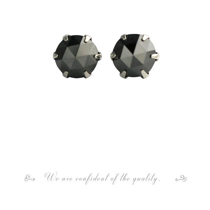 PT900 プラチナ ローズカット ブラックダイヤモンド ピアス 0.6ct 6本爪タイプ  品質保証書付  送料無料  即日発送可|diaw|04