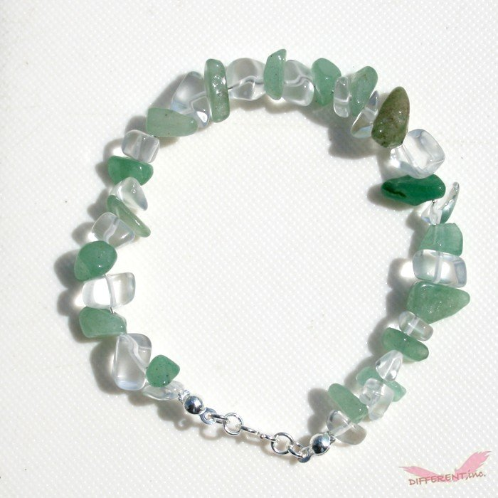 アベンチュリン 水晶 天然石ブレスレット Silver925 一点物|different