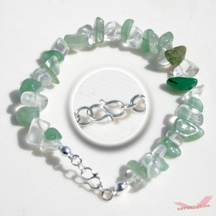アベンチュリン 水晶 天然石ブレスレット Silver925 一点物|different|02