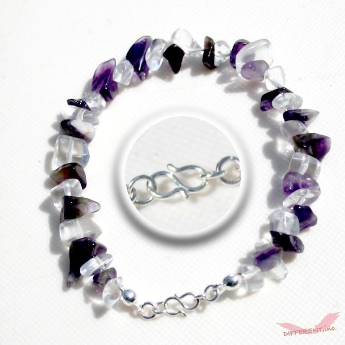 アメジスト 水晶 天然石ブレスレット Silver925 一点物 different 02