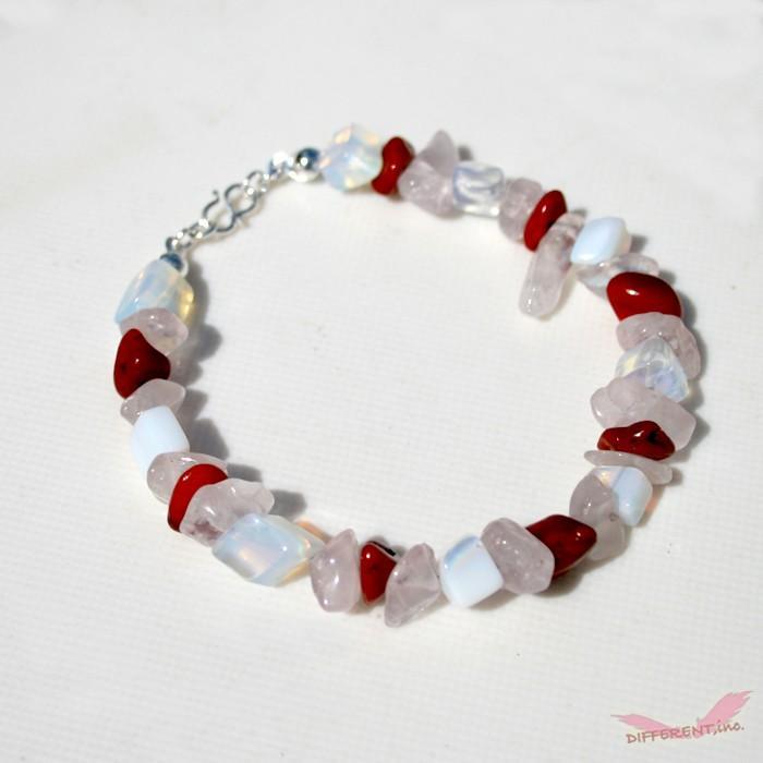 ホワイトオパール レッドコーラル ローズクリスタル 天然石ブレスレット Silver925 一点物|different|04