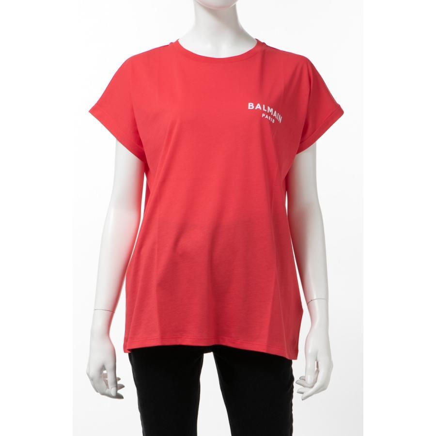 【福袋セール】 バルマン BALMAIN Tシャツ 半袖 丸首 クルーネック レディース TF11351 I382 レッド 2020年春夏新作, 美StarShop bd94bc2e
