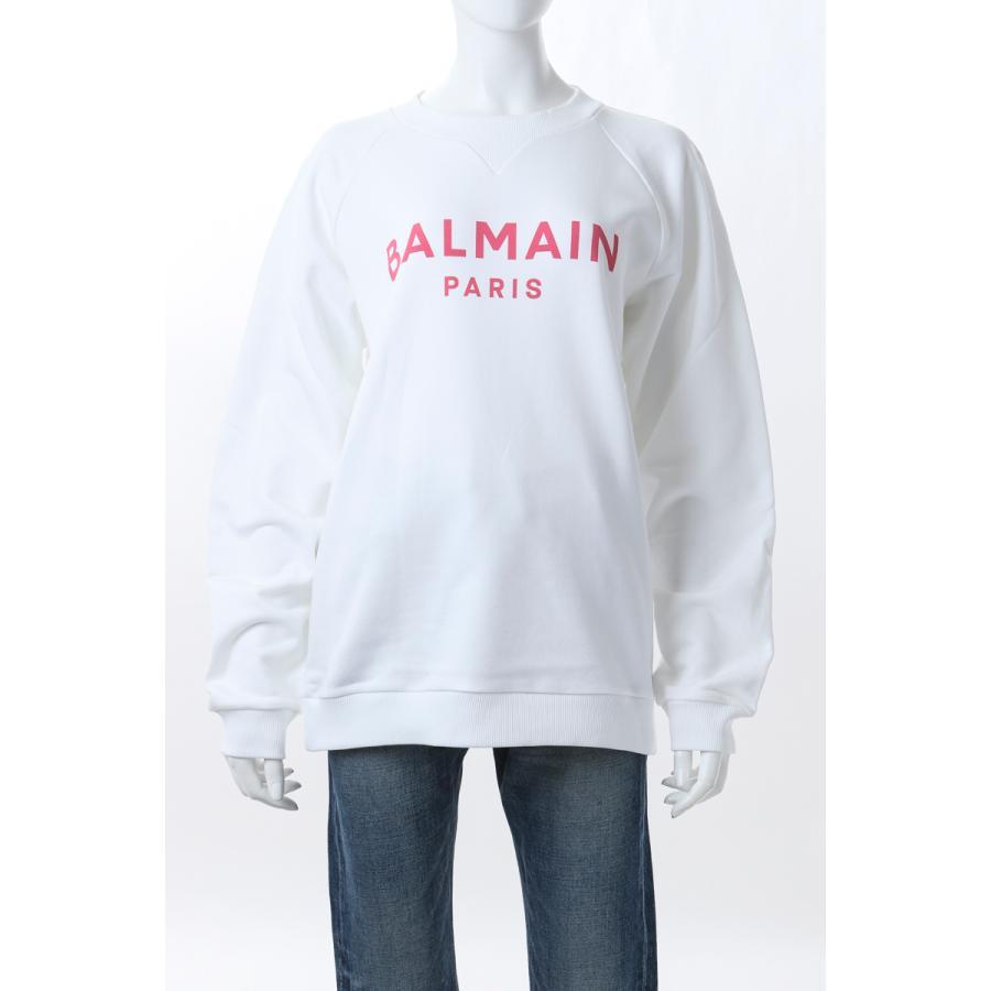 バルマン BALMAIN トレーナー スウェット プルオーバー レディース VF13691 B002 ホワイト×ピンク 2021年春夏新作