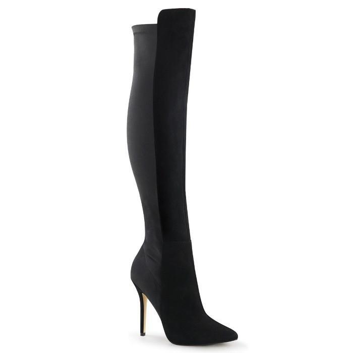 人気商品の 取寄せ靴 PLEASER プリーザー プリーザー ロングブーツ スエード PLEASER 12.5cm ヒール 黒 ブラック スエード 大きいサイズあり, キヤマチョウ:e6008e6c --- fresh-beauty.com.au