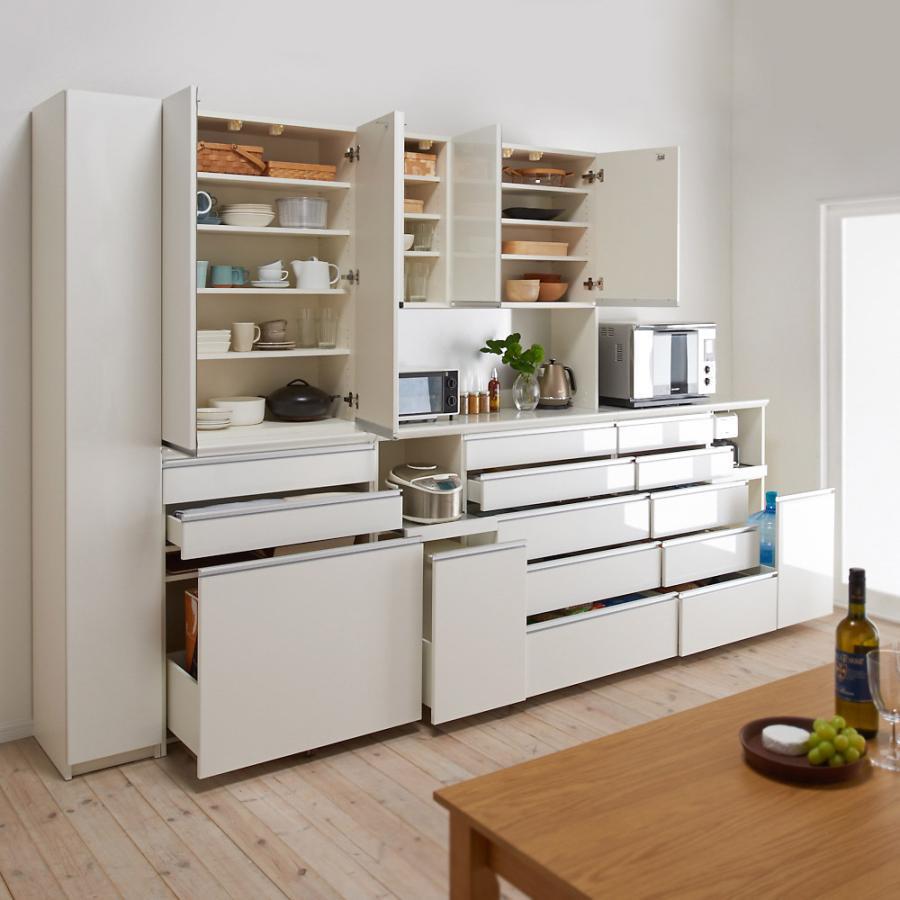 家電が使いやすいハイカウンター奥行50cm 食器棚高さ214cm幅80cm/パモウナCQ-800K 549239