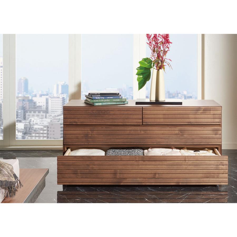 家具 収納 衣類収納 押入収納 クローゼット収納 天然木横格子柄のローチェスト 幅90cm·3段 555446