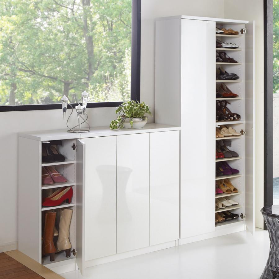前面ミラー&板戸シューズボックス 前面ミラー&板戸シューズボックス ハイタイプ・幅75.5 高さ180cm 712827