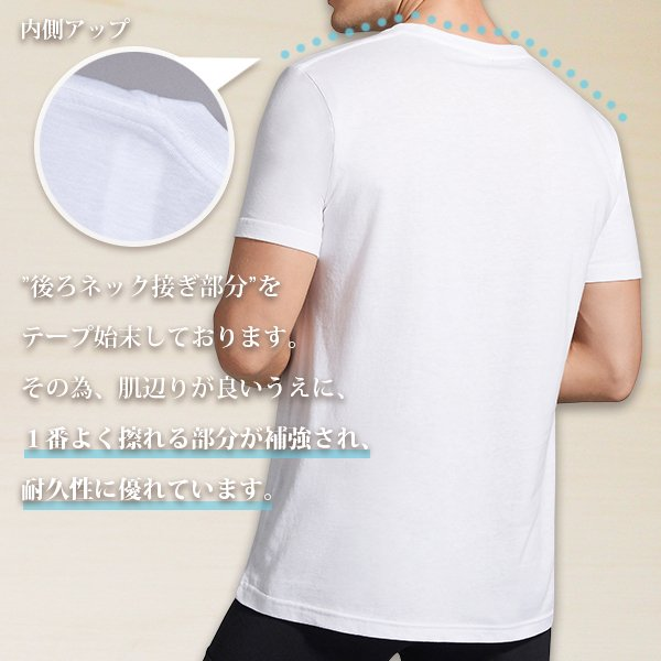 V首コットンTシャツ 綿100% メンズ半袖 白い 白 Vネック 無地 ホワイト おすすめ M L LL 直facオリジナル商品|direct-factory|03