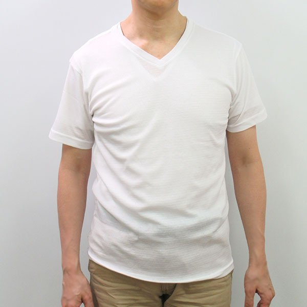 メンズ半袖Tシャツ 吸水速乾 Vネック 鹿の子編み  ホワイト スポーツ 作業着 M L LL|direct-factory|03