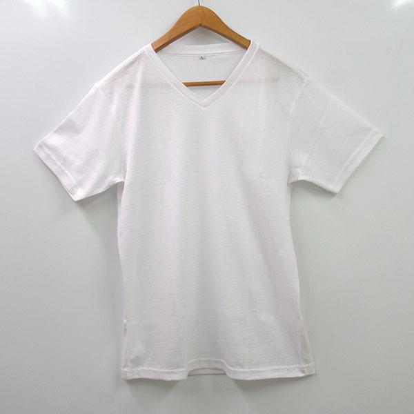 メンズ半袖Tシャツ 吸水速乾 Vネック 鹿の子編み  ホワイト スポーツ 作業着 M L LL|direct-factory|05
