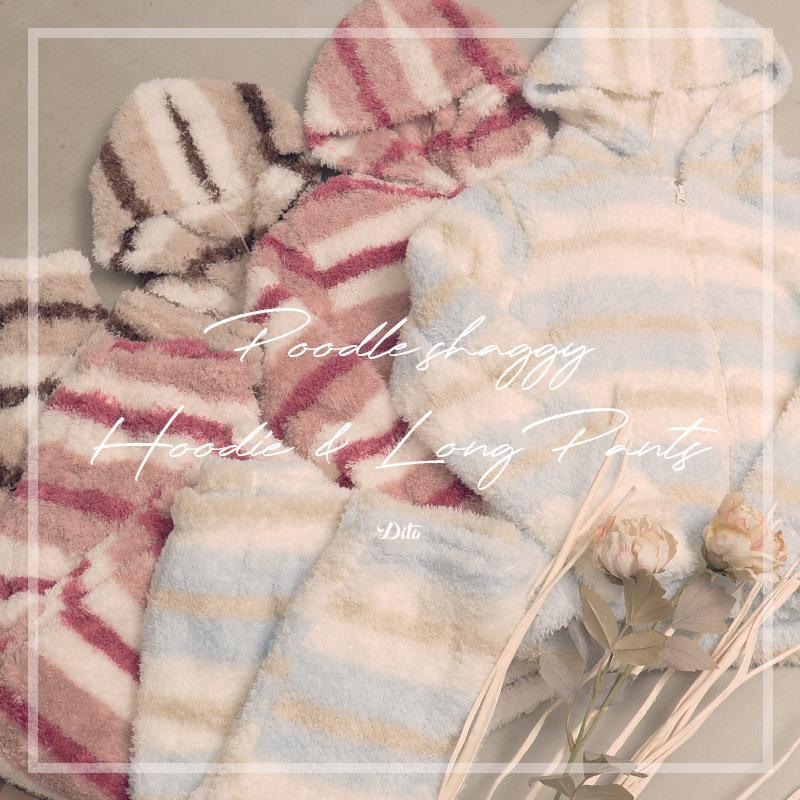 レディース  パジャマ ふわもこプードルシャギーマルチボーダールームウェア上下セット(ロングパンツ)/全3色 もこもこ 部屋着  長袖 ピンク 白 パステル dita 15