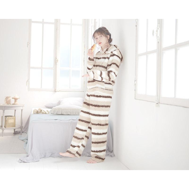 レディース  パジャマ ふわもこプードルシャギーマルチボーダールームウェア上下セット(ロングパンツ)/全3色 もこもこ 部屋着  長袖 ピンク 白 パステル dita 03