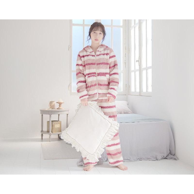 レディース  パジャマ ふわもこプードルシャギーマルチボーダールームウェア上下セット(ロングパンツ)/全3色 もこもこ 部屋着  長袖 ピンク 白 パステル dita 05