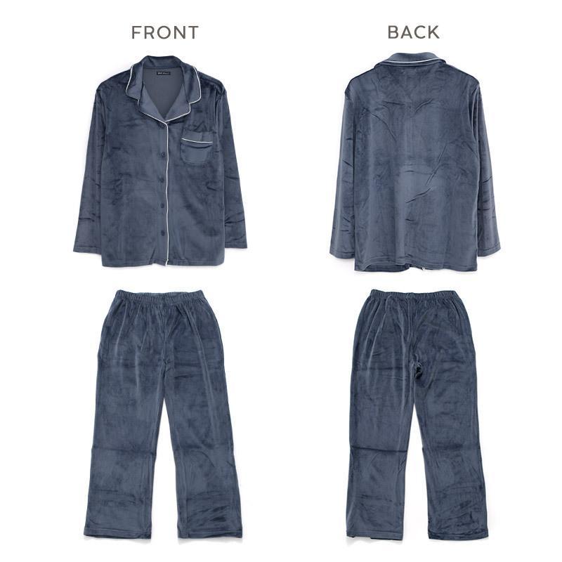 パジャマ レディース パールシャギーシャツルームウェア上下セット/全3色 ルームウェア パジャマ 部屋着 長袖 ピンク 白 黒 シンプル 大人 無地 べロア風|dita|11