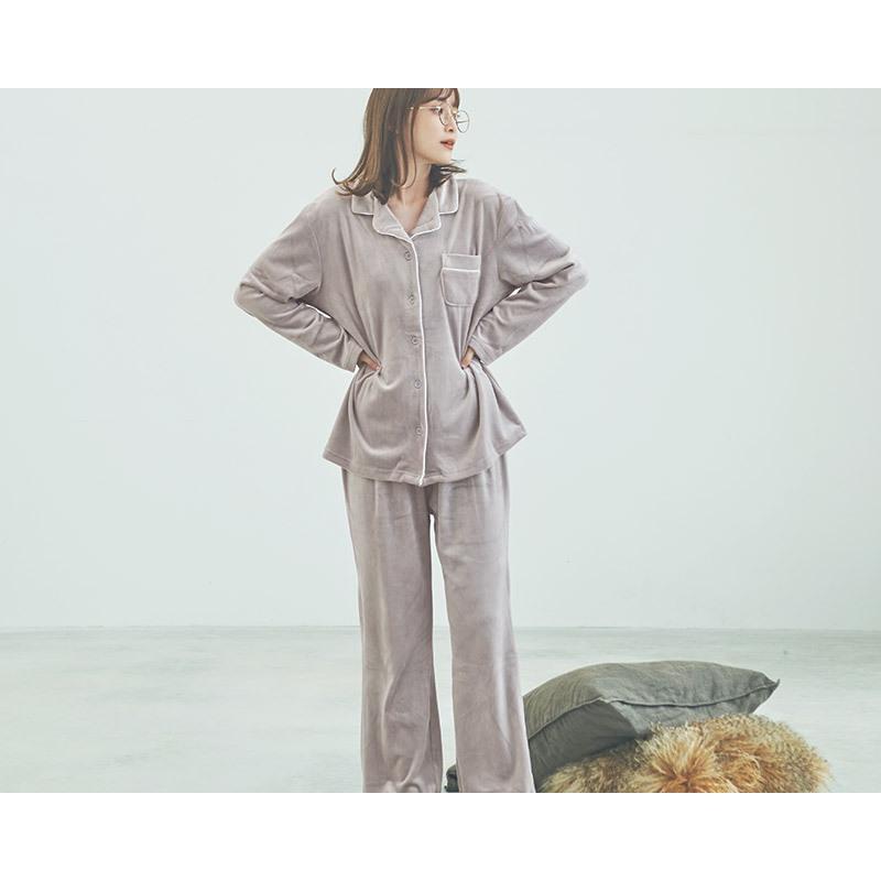パジャマ レディース パールシャギーシャツルームウェア上下セット/全3色 ルームウェア パジャマ 部屋着 長袖 ピンク 白 黒 シンプル 大人 無地 べロア風|dita|05