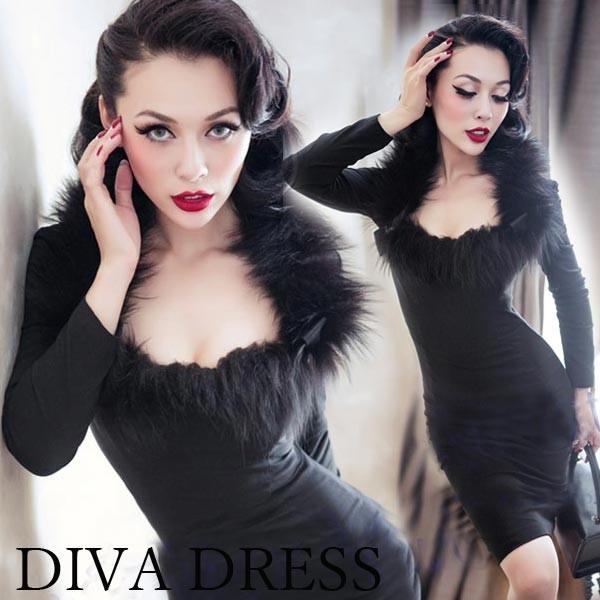 パーティードレス 結婚式 20代 30代 40代 大きいサイズ 二次会 ワンピース 袖あり 長袖 襟 ファー バックリボン フェイクファー diva-dress