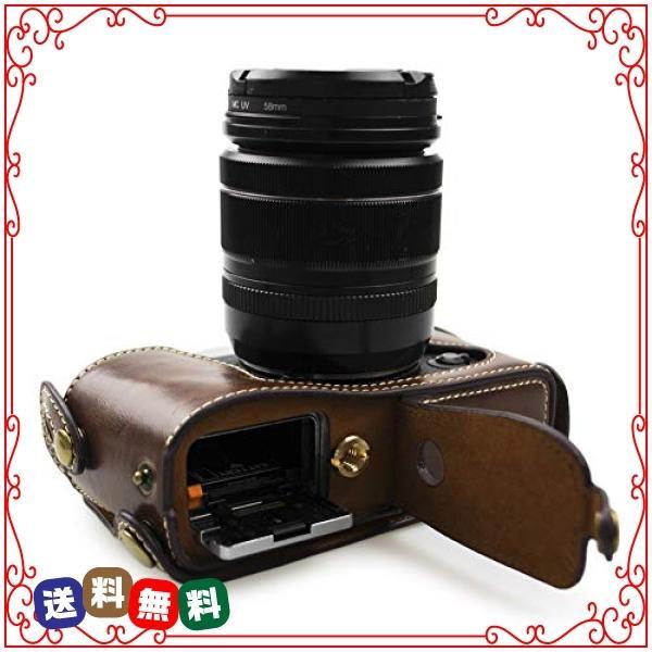 kinokoo FUJIFILM 富士フイルム X-E1 X-E2専用オープナブルタイプ ボディケース バッテリーの交換でき(コーヒー)|diva2|06