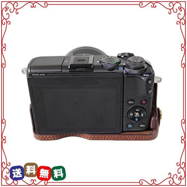 kinokoo CANON EOS M6専用カメラケース ボディケース バッテリーの交換でき 三脚ネジ穴付き 標識クロス付き (コーヒ|diva2|03