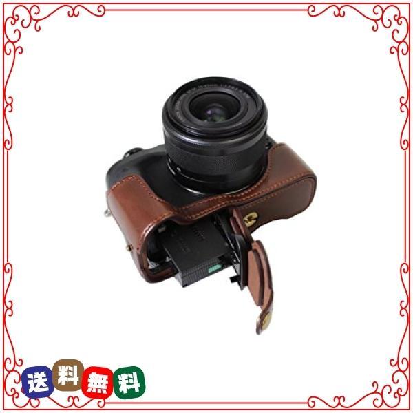 kinokoo CANON EOS M6専用カメラケース ボディケース バッテリーの交換でき 三脚ネジ穴付き 標識クロス付き (コーヒ|diva2|05
