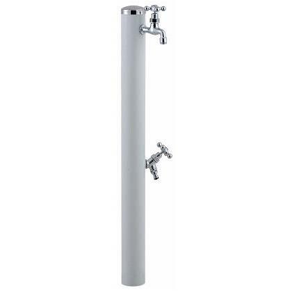 SENSUI(泉水) ステンレスキャップ クロスハンドル ウォーターポール2口 ホワイト φ76.3×H1180mm 353W ガーデン水栓