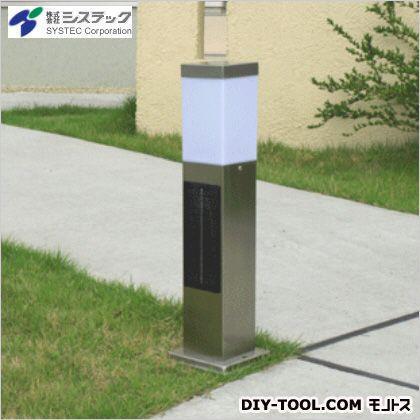 システック ソーラーポールライトスリム白色LED シルバー 高さ:50cm幅:13cm奥行:13cm SPL-SL-WHS