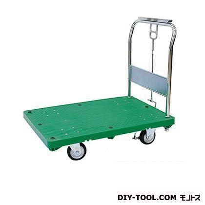 シシク ストッパー付運搬台車(プラスチック製、ハンドル折りたたみフットストッパー付) 荷台サイズ:630×950mm MA-SMG-FS
