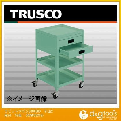 トラスコ(TRUSCO) ラビットワゴン500X500引出2段付YG色 RBW853XYG