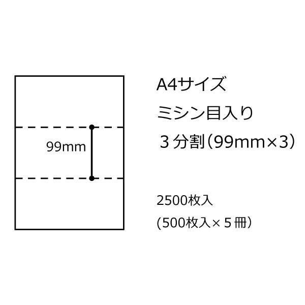 A4ミシン用紙 3分割<無穴> 2500枚 1ケース dkom 04