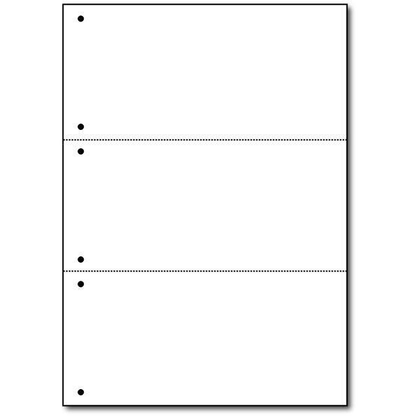 A4ミシン紙 3分割<6穴> 2500枚 1ケース|dkom