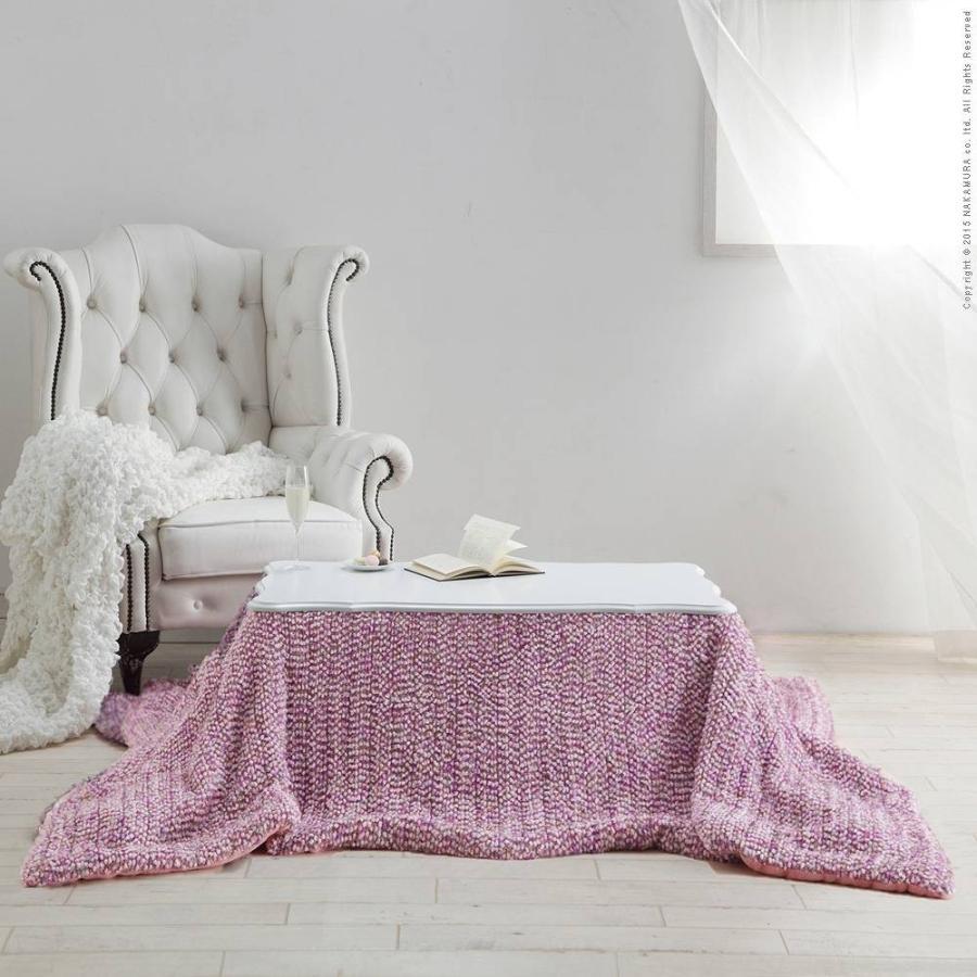 こたつ 猫脚 ねこ脚こたつテーブル 〔フローラ〕 90x60cm こたつ本体+専用ニット薄掛けこたつ布団ピンク 2点セット 長方形