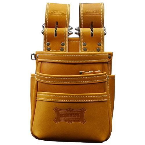 KNICKS(ニックス) チェーンタイプ高級グローブ革使用3段腰袋(キャメル) [ KGC-301DDX ] 腰袋 工具差し ホルダー
