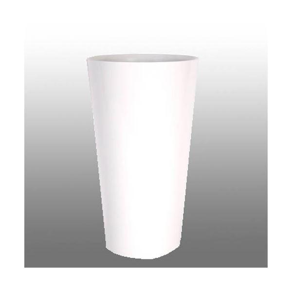 植木鉢/プランター 〔トールラウンド型 ホワイト 高さ90cm〕 中底網付 底穴なし 『ヴォーグ』 〔ガーデニング用品〕