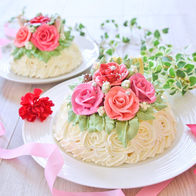 誕生日 記念日 特別 高級 スイーツ ギフト 送料無料 おしゃれ バラ マダムヒトミのフラワーケーキ フィレンツェ15cm(冷凍)|dolcediroccacarino