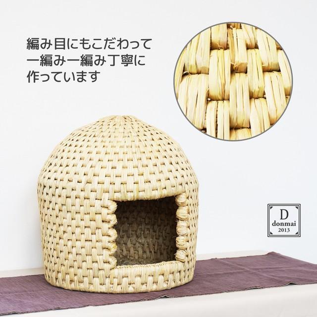 猫ちぐら キャットハウス 稲わら編み 手作り 送料無料|donmai|02