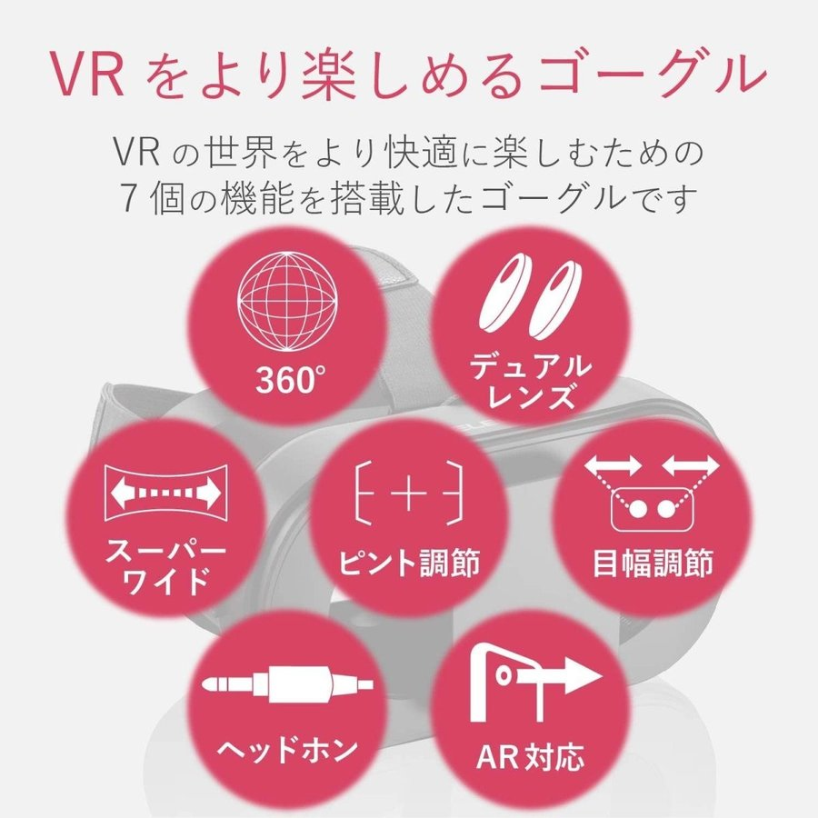 エレコム VRゴーグル VRグラス デュアルレンズ採用でVR酔いを軽減 折りたたみコンパクトタイプ ブラック P-VRGF01BK|doreminchi