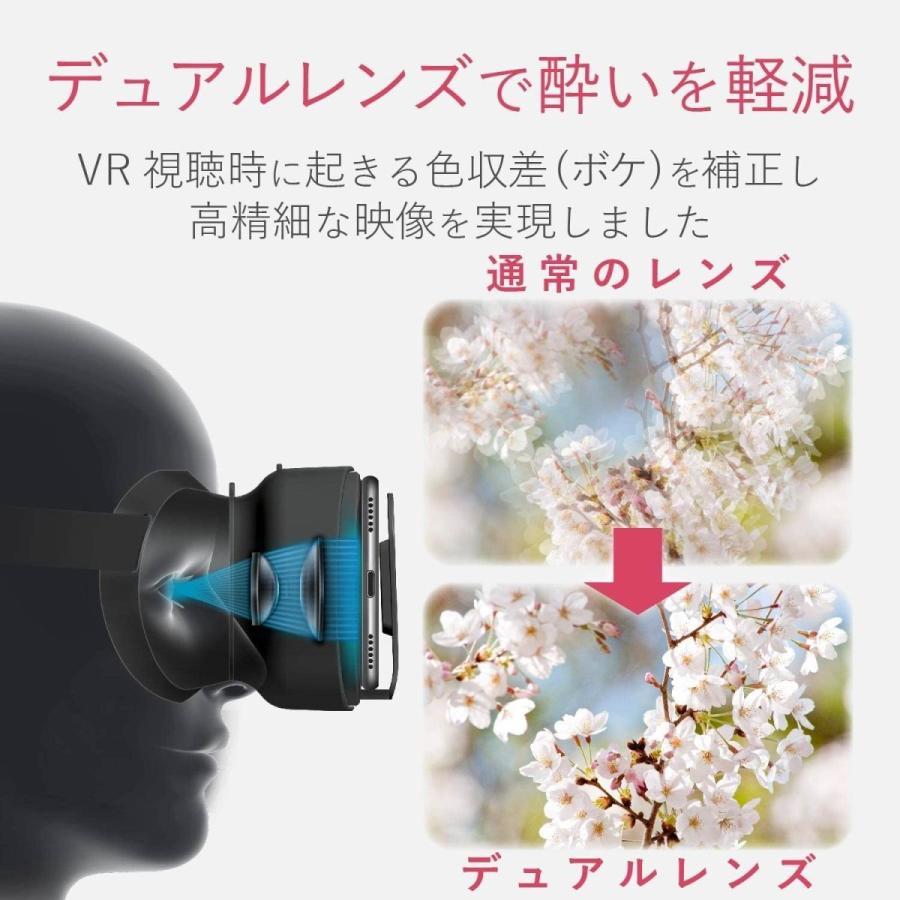 エレコム VRゴーグル VRグラス デュアルレンズ採用でVR酔いを軽減 折りたたみコンパクトタイプ ブラック P-VRGF01BK|doreminchi|06