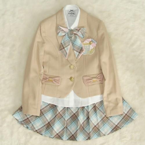 アウトレット 女児ジュニアフォーマルスーツ5点セット ベージュ ゴールド二つ釦 スカート白ベージュピンクチェック 160cm