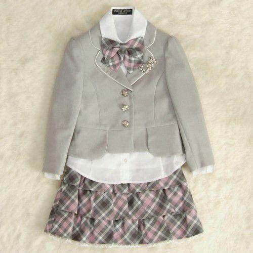 アウトレット 女児キッズフォーマルスーツ5点セット グレー 三つ釦ジャケット スーツタイプ 115cm ミチコロンドンブランド
