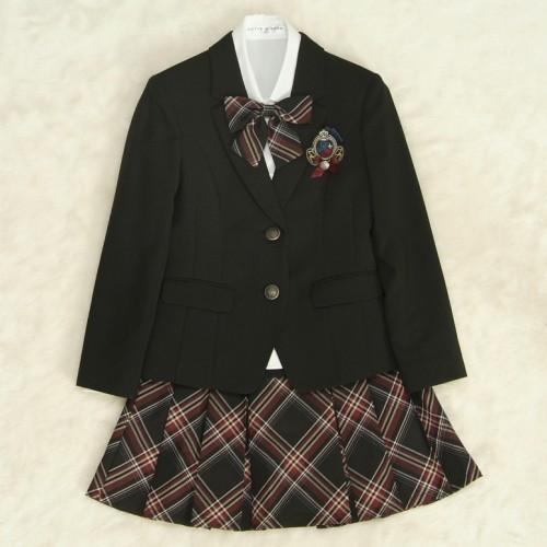 アウトレット 女児ジュニアフォーマルスーツ 140cm〜165cm 黒 シルバー二つ釦 スカート黒エンジチェック