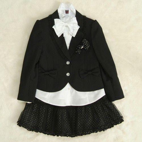 アウトレット 女児キッズフォーマルスーツ5点セット 黒 二つ釦 チュールレーススカート スーツタイプ 115cm