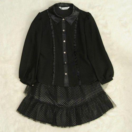アウトレット 女児キッズフォーマルスーツ2点セット 黒 チュールレーススカート ブラウススカートセット 130cm
