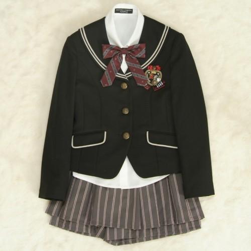 アウトレット 女児ジュニアフォーマルスーツ5点セット 黒 三つ釦 キュロットスカート 160cm ミチコロンドン